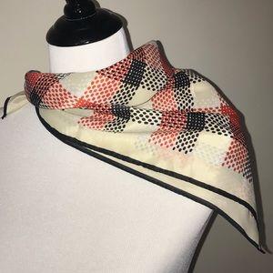 Vintage Paoli 1960s 1970s scarf red black cream